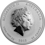 Australia 50 Cents Year of the Dog 2018 ELIZABETH II AUSTRALIA 1/2 OZ 9999 AG 2018 50 CENTS IRB coin obverse