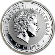Australia 50 Cents Year of the Pig (Colorized) 2007 KM# 1878a ELIZABETH II AUSTRALIA 50 CENTS coin obverse