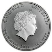 Australia 50 Cents Year of the Rabbit (Colorized) 2011 P KM# 1474a ELIZABETH II AUSTRALIA 1/2 OZ 999 SILVER 2011 50 CENTS IRB coin obverse