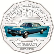 Australia 50 Cents ZH Fairlane 2017 FORD AUSTRALIAN CLASSICS 50 8 CYLINDER ZH FAIRLANE 1976-1979 coin reverse
