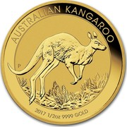 Australia 50 Dollars Australian Kangaroo 2017 AUSTRALIAN KANGAROO 2017 1/2 OZ 9999 GOLD P coin reverse