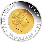 Australia 50 Dollars Australian Wedge-Tailed Eagle 2016 P KM# 2222 ELIZABETH II AUSTRALIA 50 DOLLARS coin obverse