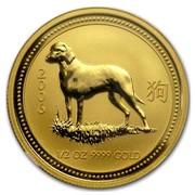 Australia 50 Dollars Lunar Dog 2006 2006 1/2 OZ 9999 GOLD coin reverse