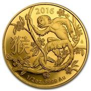 Australia 50 Dollars Lunar Monkey 2016 2016 1/2 OZ .9999 AU coin reverse