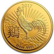 Australia 50 Dollars Lunar Rooster 2017 2017 1/2 OZ .9999 AU TD coin reverse