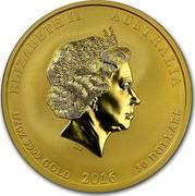 Australia 50 Dollars Monkey King 2016 ELIZABETH II AUSTRALIA 1/2 OZ 9999 GOLD 2016 50 DOLLARS IRB coin obverse