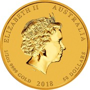 Australia 50 Dollars Year of the Dog 2018 ELIZABETH II AUSTRALIA 1/2 OZ 9999 GOLD 2018 50 DOLLARS IRB coin obverse