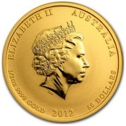 Australia 50 Dollars Year of the Dragon (Colorized) 2012 ELIZABETH II AUSTRALIA 1/2 OZ 9999 GOLD 2012 50 DOLLARS IRB coin obverse