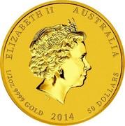 Australia 50 Dollars Year of the Horse 2014 ELIZABETH II AUSTRALIA 1/2 OZ 9999 GOLD 2014 50 DOLLARS IRB coin obverse