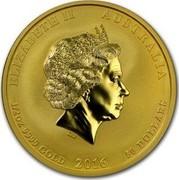 Australia 50 Dollars Year of the Monkey 2016 ELIZABETH II AUSTRALIA 1/2 OZ 9999 GOLD 2016 50 DOLLARS IRB coin obverse