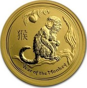 Australia 50 Dollars Year of the Monkey 2016 YEAR OF THE MONKEY P IJ coin reverse