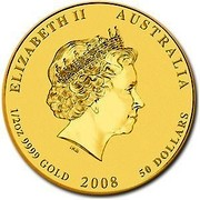 Australia 50 Dollars Year of the Mouse (Colorized) 2008 ELIZABETH II AUSTRALIA 1/2 OZ 9999 GOLD 2008 50 DOLLARS IRB coin obverse