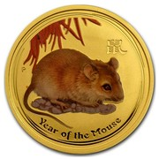 Australia 50 Dollars Year of the Mouse (Colorized) 2008 YEAR OF THE MOUSE P coin reverse