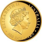 Australia 500 Dollars Australian Wedge-Tailed Eagle 2016 Proof KM# 2221 ELIZABETH II AUSTRALIA ∙ 500 DOLLARS ∙ IRB coin obverse