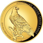 Australia 500 Dollars Australian Wedge-Tailed Eagle 2016 Proof KM# 2221 AUSTRALIAN WEDGE-TAILED EAGLE *YEAR* 5 OZ 9999 GOLD P JM coin reverse