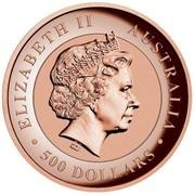 Australia 500 Dollars Kimberley Sunset 2015 KM# 2205 ELIZABETH II AUSTRALIA 500 DOLLARS IRB coin obverse