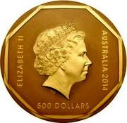 Australia 500 Dollars Koala Road Sign 2014 ELIZABETH II AUSTRALIA 2014 500 DOLLARS IRB coin obverse