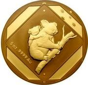 Australia 500 Dollars Koala Road Sign 2014 5 OZ. 9999 AU coin reverse
