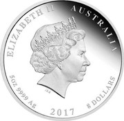 Australia 8 Dollars Henry Lawson 150th Anniversary 2017 ELIZABETH II AUSTRALIA 5 OZ 9999 AG 8 DOLLARS IRB coin obverse