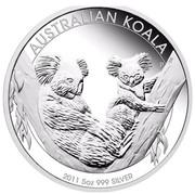 Australia 8 Dollars Two Koalas 2011 AUSTRALIAN KOALA 2011 5 OZ 999 SILVER P EM coin reverse