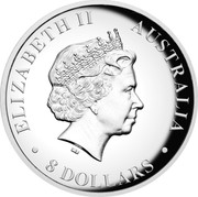 Australia 8 Dollars Two Kookaburras 2017 ELIZABETH II AUSTRALIA 8 DOLLARS IRB coin obverse