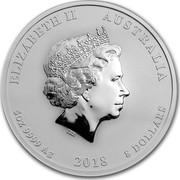 Australia 8 Dollars Year of the Dog 2018 ELIZABETH II AUSTRALIA 5 OZ 9999 AG 2018 8 DOLLARS IRB coin obverse