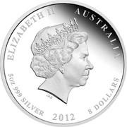 Australia 8 Dollars Year of the Dragon (Red) 2012 ELIZABETH II AUSTRALIA 5 OZ 999 SILVER 2012 8 DOLLARS IRB coin obverse