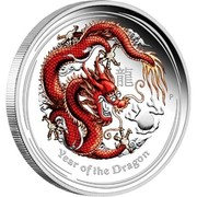 Australia 8 Dollars Year of the Dragon (Red) 2012 YEAR OF THE DRAGON P coin reverse