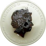Australia 8 Dollars Year of the Goat 2015 ELIZABETH II AUSTRALIA 5 OZ 999 SILVER 2015 8 DOLLARS IRB coin obverse