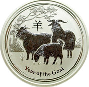 Australia 8 Dollars Year of the Goat 2015 YEAR OF THE GOAT P NM coin reverse