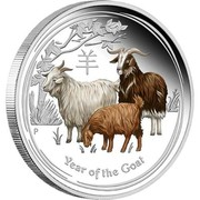 Australia 8 Dollars Year of the Goat Colored 2015 YEAR OF THE GOAT P NM coin reverse