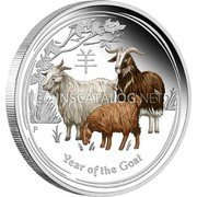 2015 YEAR OF GOAT UNC COIN AUSTRALIA 50 CENTS .999 COLORIZED SILVER 1//2 OZ
