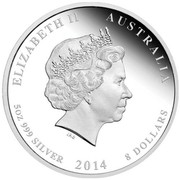 Australia 8 Dollars Year of the Horse 2014 ELIZABETH II AUSTRALIA 5 OZ 999 SILVER 2014 8 DOLLARS IRB coin obverse