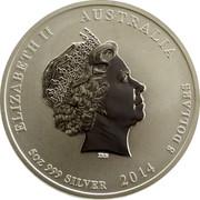 Australia 8 Dollars Year of the Horse 2014 KM# 2113 ELIZABETH II AUSTRALIA 5 OZ 999 SILVER 2014 8 DOLLARS IRB coin obverse