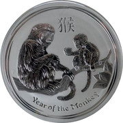 Australia 8 Dollars Year of the Monkey 2016 YEAR OF THE MONKEY P IJ coin reverse