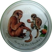 Australia 8 Dollars Year of the Monkey (Colorized) 2016 YEAR OF THE MONKEY P IJ coin reverse