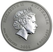 Australia 8 Dollars Year of the Mouse 2008 ELIZABETH II AUSTRALIA 5 OZ 999 SILVER 2008 8 DOLLARS IRB coin obverse