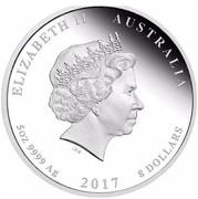 Australia 8 Dollars Year of the Rooster 2017 ELIZABETH II AUSTRALIA 5 OZ 9999 AG 2017 8 DOLLARS IRB coin obverse