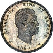 USA Eighth Dol. 1883 KM# 4a Hawaii KALAKAUA I KING OF HAWAII coin obverse