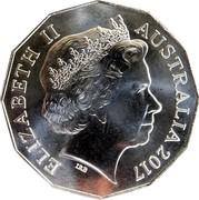Australia Fifty Cents 70th Anniversary of the Royal Wedding 2017 ELIZABETH II AUSTRALIA 2017 IRB coin obverse