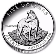 Australia Five Dollars Archie the Alpine Dingo 2017 FIVE DOLLARS ARCHIE AUSTRALIA 200 1 OZ .999 AG coin reverse