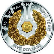 Australia Five Dollars Australian Olympic Team 2016 2016 AUSTRALIAN OLYMPIC TEAM FIVE DOLLARS coin reverse