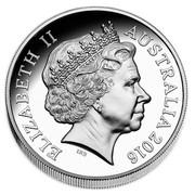 Australia Five Dollars Australian Saltwater Crocodiles - Monty 2016 ELIZABETH II AUSTRALIA 2016 IRB coin obverse