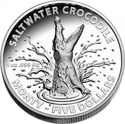 Australia Five Dollars Australian Saltwater Crocodiles - Monty 2016 SALTWATER CROCOILE MONTY - FIVE DOLLARS 1 OZ .999 AG coin reverse