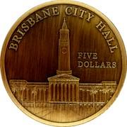 Australia Five Dollars Brisbane City Hall 2012 BRISBANE CITY HALL FIVE DOLLARS coin reverse