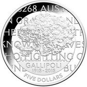Australia Five Dollars Gallipoli Landing 2015 KM# 2197 GALLIPOLI 1915-2015 FIVE DOLLARS coin reverse