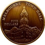 Australia Five Dollars Melbourne Town Hall 2012 MELBOURNE TOWN HALL FIVE DOLLARS AM coin reverse