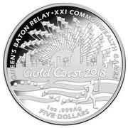 Australia Five Dollars Queen's Baton Relay 2017  QUEEN'S BATON RELAY XXI COMMONWEALTH GAMES GOLD COAST 2018 1 OZ .999 AG FIVE DOLLARS coin reverse