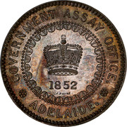 Australia Five Pounds South Australia Adelaide 1852 KM# Pn1a GOVERNMENT ASSAY OFFICE 1852 J. PAYNE ADELAIDE coin obverse