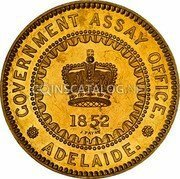 Australia Five Pounds South Australia Adelaide 1852 KM# Pn1 GOVERMENT ASSAY OFFICE. ADELAIDE. 1852 J. PAYNE coin obverse